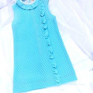 VINTAGE BLUE TEXTURED HIGH  RUFFLE COLLAR DRESS